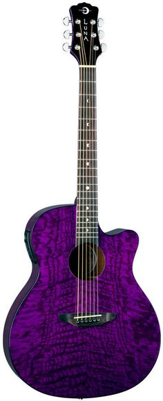 Luna 6 String Gypsy Series Quilt Ash with Preamp Acoustic Guitar Trans Purple