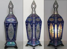 Blue Lamp - Light Up Our Gallery Entry - Delphi Artist Gallery Glass Lamps, Glass Art, Lamp Light, Light Up, Delphi Glass, Artist Gallery, Stained Glass, Decorating, Blue