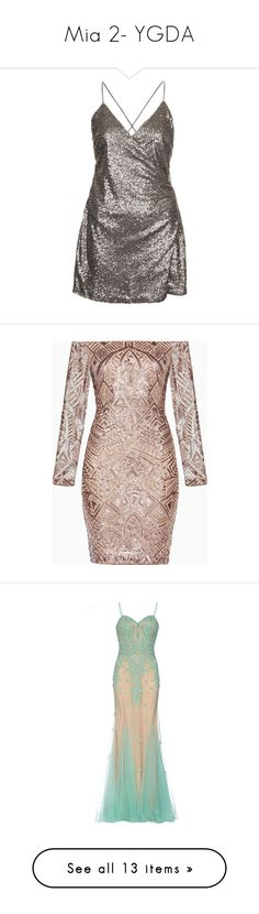 """""""Mia 2- YGDA"""" by inestrindade on Polyvore featuring dresses, vestidos, gunmetal, sequin embellished dress, wrap dresses, wrap cocktail dress, strap dress, brown sequin dress, party dresses and off the shoulder dress"""