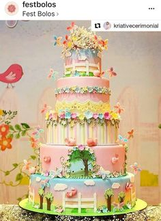 This is fairy birthday cake heaven! Fairy Garden Cake, Garden Cakes, Fairy Cakes, Fairy Birthday Cake, Baby Birthday Cakes, Pretty Cakes, Beautiful Cakes, Spring Cake, Gateaux Cake