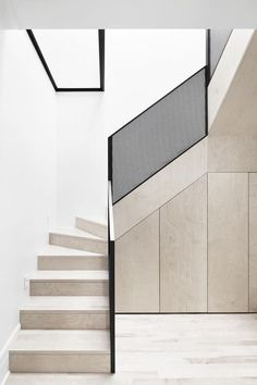cabinetry stairs perforated steel balustrade plywood
