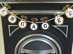 Gold engagement party bunting banner. Gold by Garlandsandgifts