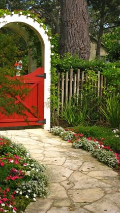 "Lovely red cottage garden gate and arbor ~ so charming. A ""red"" gate! Garden Gates And Fencing, Garden Paths, Arbor Gate, Fence Gate, Garden Types, Trellis Gate, Picket Fence Garden, Wood Arbor, Yard Fencing"