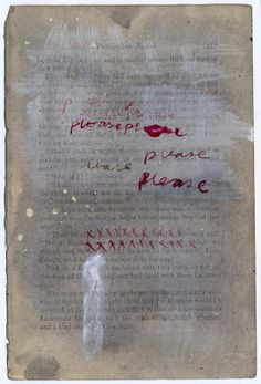 Ink and acrylic on a page torn from an old book . Alice Leach