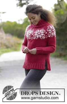 Julerose / DROPS 183-6 - Knitted sweater with round yoke, high neck and multi-colored Nordic pattern, worked top down. Sizes S-XXXL. The piece is worked in DROPS Eskimo.