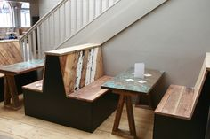 Booth Seating Reclaimed Wood with Copper Tables 3.jpg