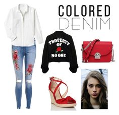 """""""Colored Denim"""" by yumyv ❤ liked on Polyvore featuring Lacoste and L.K.Bennett"""