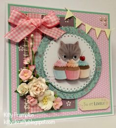 Made by Kitty Frampton for Making Cards Magazine using Docrafts Little Meow Collection.