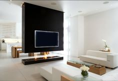 glamorous tv wall unit with fireplace: tv-wall-unit-with-fireplace-wall-units-with-fireplace-and-bookshelve-Stunning- Small Room Divider, Bamboo Room Divider, Glass Room Divider, Wall Units With Fireplace, Fireplace Design, Black Fireplace, Fireplace Ideas, Minimalist Fireplace, Double Sided Fireplace