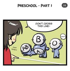 Pre-school pt.1 Blood Type Personality, Blood Types, Pre School, Knowledge, Family Guy, Comics, Fictional Characters, Cartoons, Fantasy Characters