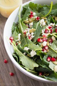 Delicious Salad with Kale, Pomegranate, Feta, and Dijon Vinaigrette # ...