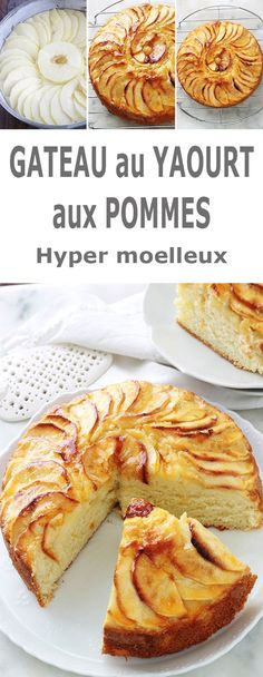 Fluffy apple yogurt cake, easy recipe - Delicious cake with apple yoghurt, melting and soft as desired. It is the classic yogurt cake recip - Yogurt Dessert, Yogurt Breakfast, Yogurt Cake, Breakfast Recipes, Healthy Chicken Recipes, Easy Healthy Recipes, Easy Meals, Easy Cake Recipes, Sweet Recipes