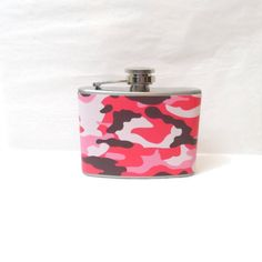 Stainless Steel Hip Flask with pink camo wrap - - camouflage Flask Garter, Pink Camouflage, Sweet Style, Military Fashion, Fashion Accessories, Etsy Shop, Cool Stuff, Flasks, Tins