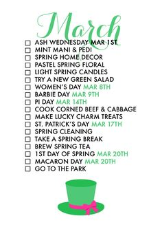 18 Reasons To Celebrate March! A monthly life list helps us celebrate each season of the year and find joy in every day!