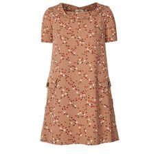 Hidden Hedgehog Print Silk Crepe Cowl Neck Dress