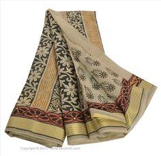 VINTAGE INDIAN SAREE PRINTED FABRIC BLEND COTTON SARI CRAFT WOVEN BORDER 5 YARD #SanskritiVintage