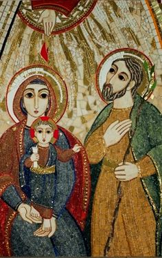The icon of the Holy Family, new symbol of the World Meeting Delivery to the Milanese from the Pope Caravaggio, Religious Icons, Religious Art, Knights Of Columbus, Mosaic Portrait, Borders For Paper, Madonna And Child, Catholic Saints, Holy Family