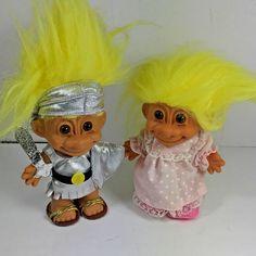 "(2) Vintage Russ Troll Dolls Gladiator Knight Pajamas Nightgown  5"" #Russ #DollswithClothingAccessories"