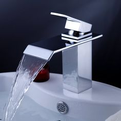 LightInTheBox Single Handle Waterfall Bathroom Vanity Sink Faucet with Extra Large Rectangular Spout
