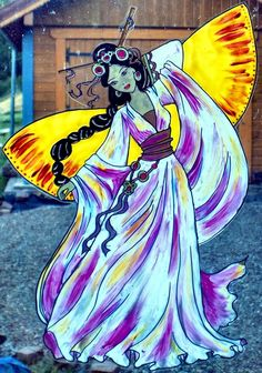WICOART WINDOW COLOR STICKER CLING FAUX STAINED GLASS FEE GEISHA BUTTERFLY FAIRY