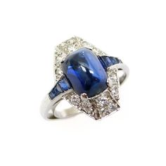 Art Deco cabochon sapphire & diamond cluster ring, French, ca 1920.