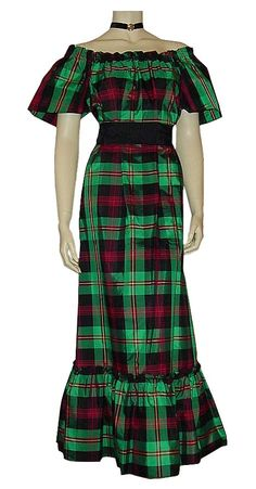 """If your prom dress screams """"Little House on the Prairie"""" in a loud tartan print, you might regret it. Bonus points for the off-the-shoulder ruffling."""