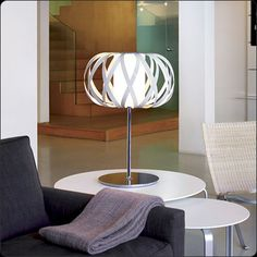 Bover Rolandita-T Table Lamp, Bover Table Lamps Stainless Steel Strip, Light Table, Table Lighting, Table Lamps, Glass Diffuser, Showcase Design, Lighting Design, Furniture Design, Chrome
