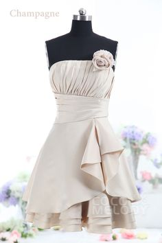 Hot+Sale+A-Line+Strapless+Knee+Length+Champagne+Satin+Bridesmaids+Dress+COJK13003