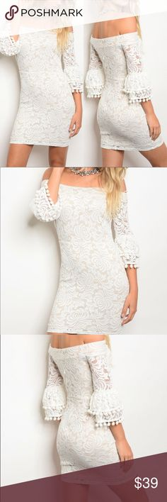 Off White Lace Pompom Tassel Off Shoulder Dress Beautiful feminine off white lace cocktail dress. Stretch bodycon style fit. Sexy off the shoulder style with 3/4 length sleeves that have a little bell at the end with pompom tassels. Short mini length. Streches. US Sizing.  Made of: 95% Polyester & 5% Spandex Dresses Mini