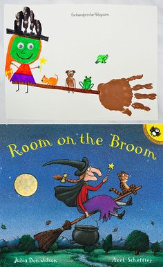 Start Out Your Very Own Sewing Company Cute Witch And Broom Hand Craft Inspired By Room On The Broom Story Halloween School Treats, Halloween Books, Halloween Crafts For Kids, Halloween Activities, Easy Halloween, Halloween Themes, Book Activities, Toddler Activities, Halloween Stories For Kids