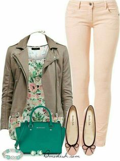 I think I love this floral print with this jacket and jeans... I don't own any floral.