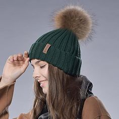 Trendy Real Fur Pom Pom Hat  Fashionable Real Fur Pom Beanie f0f4b2a5d862
