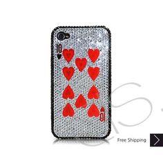 Poker Heart Ten Bling Swarovski Crystal iPhone 5 Case