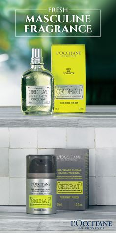 Our Cédrat collection boasts a fresh and masculine citrus scent. The Global Face Gel hydrates and helps energize, while the Eau De Toilette helps to refresh with notes of wood and citrus. For a fragrance that is both refined and energizing, choose Cédrat, the best range for men.