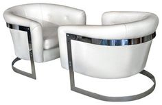 Pair Chrome Steel Lounge Chairs Attributed to Milo Baughman modern armchairs