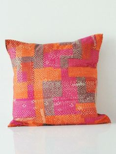Plaksh Kantha Print Cushion Cover - 16in x 16in