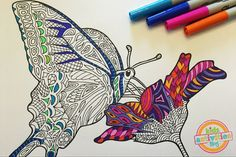 Printable Adult Coloring Page – Butterfly on Flower Zentangle