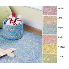 Playful Indoor / Outdoor Reversible Braided Rug by Rhody Rug, 10 ft x 13 ft