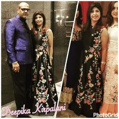 Rule #1 clothing first! @vinod_mamta_kirpalani wearing our bandhgala in royal blue jacquard and  @keswanianita wearing our colourful gown.  #womenswear#menswear#mensfashion#details#embroidery#crystals#swarovski#3dflowers#indianoutfit#indianwedding#formals#fashion#designerwear#desiwedding#desichic#desi_couture#couture#jakartadesigner#shaadi_bazaar#desifashion#fashion2016#indiandesigner#deepikakirpalani#style