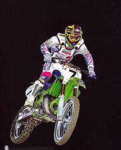 Mike LaRocco piloting his Factory Kawasaki KX250-SR to victory at the opening round of the 1992 Supercross season -Jeff Ames Photo #LaRocket #MSR #CountdownToA1 #Supercross