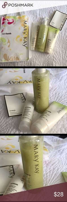 Mary Kay Satin Hands Pampering Set - Honeydew Mary Kay Satin Hands Pampering Set - Honeydew, includes Hand Softener, Satin Smoothie Hand Scrub (Honeydew) and Hand Cream. If you haven't used this product yet, you have to try it! Makes your hands super soft. See photos for amount of product in package. I offer 10% off with a bundle purchase of one other item purchase. Mary Kay Other
