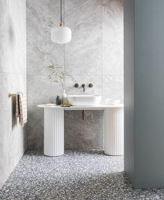 Pebble Blue Porcelain Colorful Kitchen Decor, Kitchen Colors, Limestone Tile, Stone Tiles, Mandarin Stone, Family Bathroom, Bathroom Ideas, Decorative Tile, Natural Stones