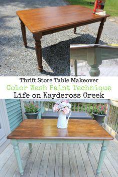 Thrift store table makeover from Life on Kaydeross Creek - #farmhouse #farmhousestyle #farmhousedecor #furnituremakeover #paintedfurniture #lifeonkayderosscreek