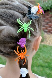 Halloween Hairdos: Spider Rings --fun way to be festive and unique
