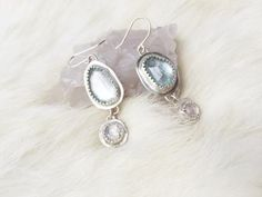 Arctic Earrings - Aquamarine and Moonstone Earrings