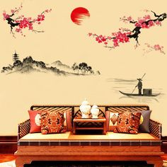 [Visit to Buy] Chinese Poem Plum blossom Wintersweet Decorative Wall Stickers Living Room Bedroom Wall Sun Plum TV Background Wall Sticker #Advertisement
