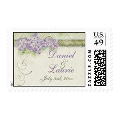 Vintage Look Lilac Hydrangea Wedding Love Postage