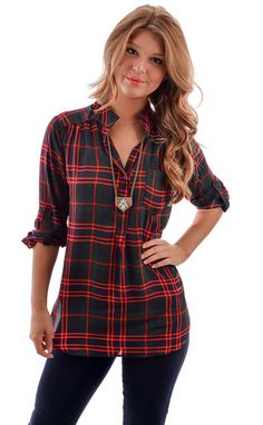I Solemnly Square Plaid Top shopbelleboutique.com