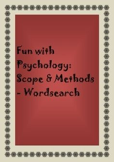 This activity can be used to help students get familiarized with the psychological concepts. This can also improve student concentration in learning the concepts.  Check out more quality, ready-to-use resources: More from Resources Galore  Follow me on: Pinterest And/or Facebook  CLICK on the green FOLLOW ME button and be the first to know when new resources become available!