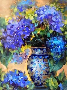 Blue Summer Hydrangeas by Nancy Medina Oil ~ 16 x 12